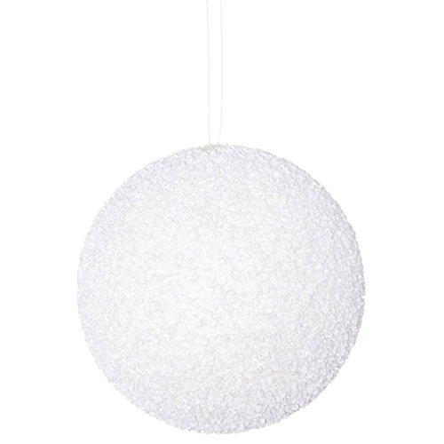 Vickerman 531334-4″ White Beaded Ball Christmas Tree Ornament (6 pack) (N185611D)