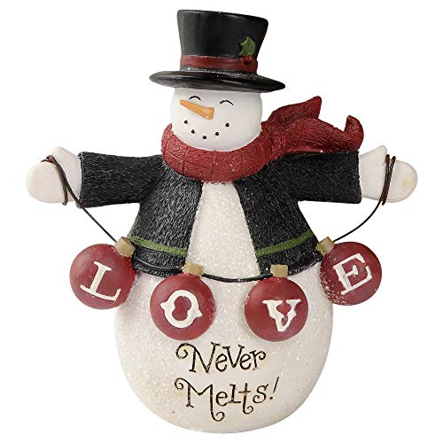 Blossom Bucket Love Never Melts Snowman 4.25 x 4 Inch Resin Stone Christmas Tabletop Figurine