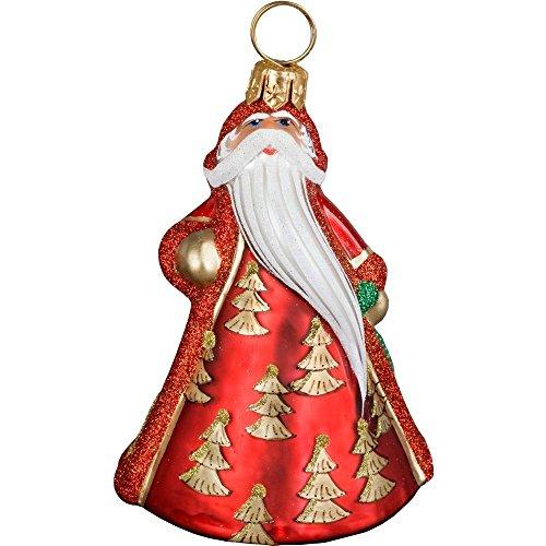Joy to the World – Glitterazzi Mini Santa With Gold Trees – Blown Glass Ornament