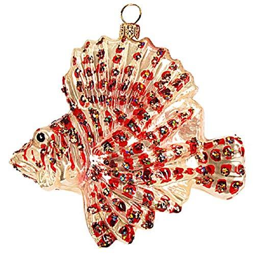 Pinnacle Peak Trading Company Lionfish Polish Glass Christmas Tree Ornament Fish Animal Sea Life Decoration