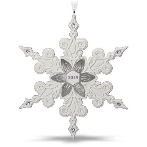 Hallmark Keepsake Christmas Ornament 2018 Year Dated, Snowflake, Porcelain