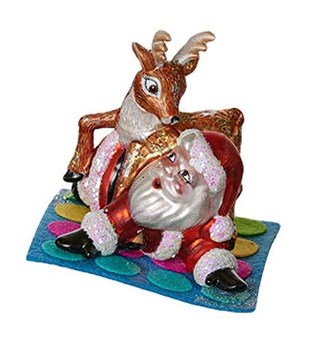 One Hundred 80 Degrees Twister Game Santa Reindeer Ornament