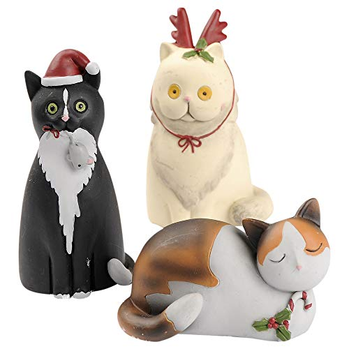 Blossom Bucket Christmas Cats 3.25 x 2 Inch Resin Stone Christmas Tabletop Figurine Set of 3