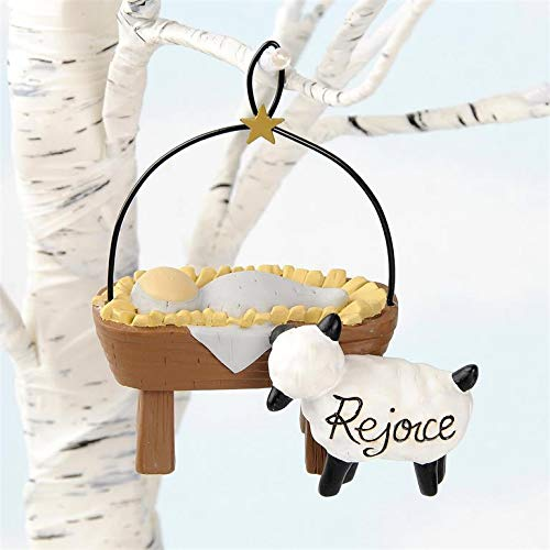 Blossom Bucket Rejoice Sheep with Baby Jesus Ornament
