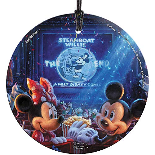 Trend Setters Thomas Kinkade Mickey 90 Years Glass Ornament 3.5″ Christmas Disney Mouse