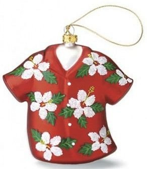 """Red Hibiscus"" Aloha Shirt Glass Ornament"
