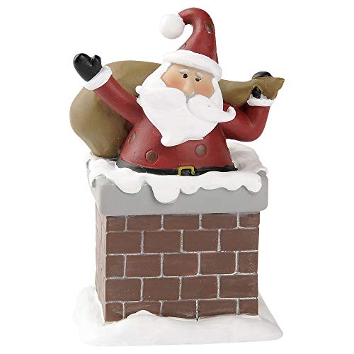 Blossom Bucket Santa in Chimney 3.5 x 2.25 Inch Resin Stone Christmas Tabletop Figurine