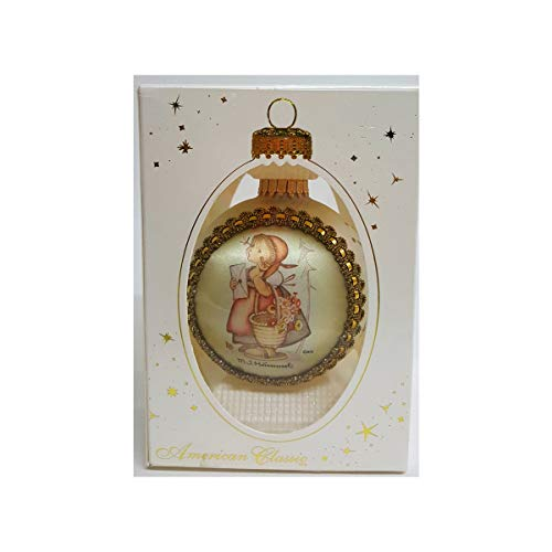 Christmas by Krebs M. J. Hummel Glass Collectibles Child with Letter H345 Silk Picture Ornament 2000