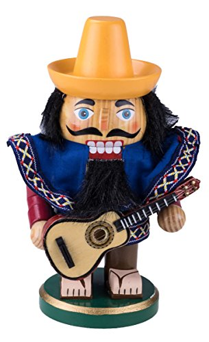 "Cleaver Creation Chubby Mexico Nutcracker   7.25"" Tall Collectible Wooden Nutcracker   Decorative Figure with Sombrero, Poncho, Guitar"