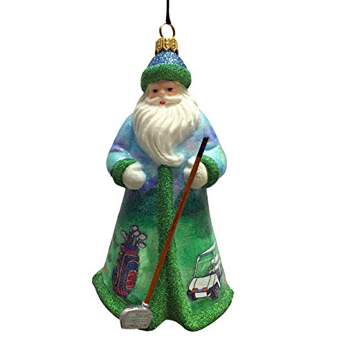 Joy To The World Glitterazzi Golfing Santa Polish Glass Christmas Tree Ornament New