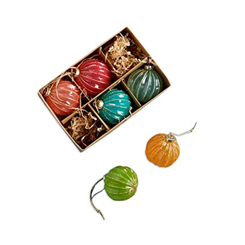 One Hundred 80 Degrees Glitter Stripe 6 Pc Boxed Set Christmas Ball Ornaments, 2.25 Inch