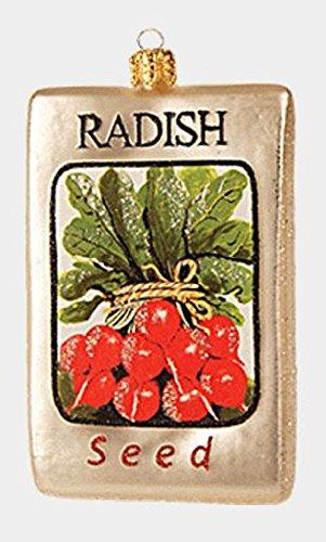 Pinnacle Peak Trading Company Bag of Vegetable Radish Seeds Polish Glass Christmas Tree Ornament Decoration