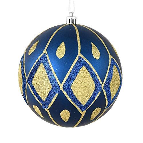 Vickerman 528723-4″ Midnight Blue Matte Glitter Diamond Ball Christmas Tree Ornament (4 pack) (N188031D)