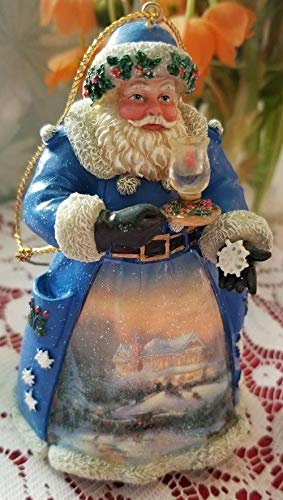 Thomas Kinkade Christmas Night Visit Old World Santa Ornament