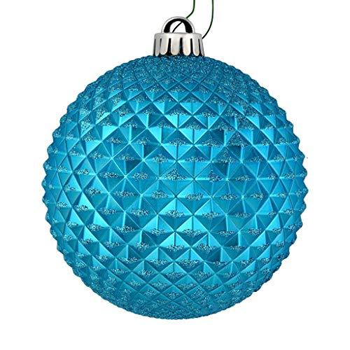 Vickerman 529805-2.75″ Turquoise Durian Glitter Ball Christmas Tree Ornament (12 pack) (N188412D)