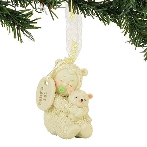 "Department 56 Snowbabies ""Baby's First Ornament"" Porcelain Ornament, 2.01"""