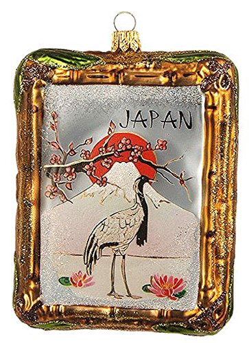 Pinnacle Peak Trading Company Japan Bamboo Picture Frame Polish Glass Christmas Tree Ornament Made in Poland