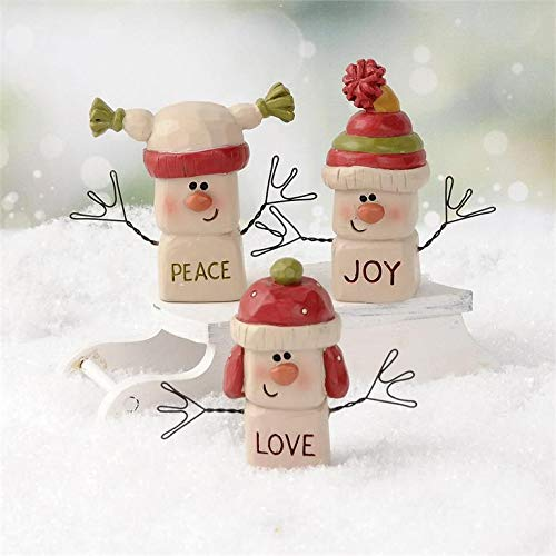 Blossom Bucket Set of 3 Snowmen Marshmallow Men – Peace Joy Love Resin Country Christmas Holiday Prim Decor Each is 1.75 x 2.25