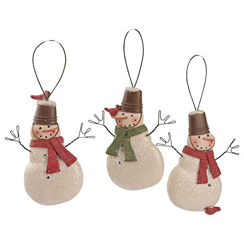 Blossom Bucket Snowman Crate Hats/Birds 3.25 x 2.5 Inch Resin Stone Christmas Ornament Set of 3