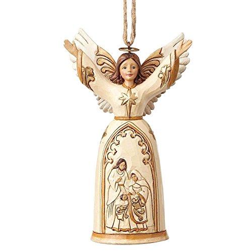 Enesco Jim Shore Heartwood Creek Ivory/Gold Nativity Angel Ornament Cream 4.75