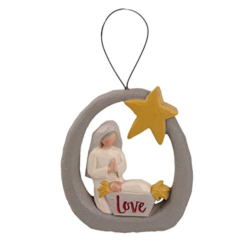 Blossom Bucket Mary and Jesus 3 x 2.75 Inch Resin Stone Christmas Ornament