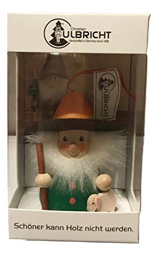 Christian Ulbricht Wooden Handcrafted Shepherd with Sheep Holiday Ornament