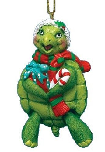 Turtle Christmas Ornament w/ Santa Hat & Hinged Legs by Beachcombers