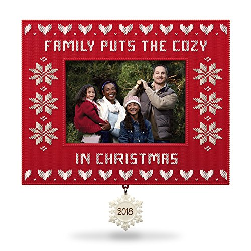 Hallmark Keepsake Christmas Ornament 2018 Year Dated, Family Cozy Christmas Sweater Picture Frame, Photo Frame
