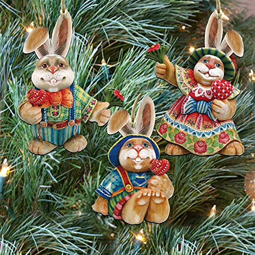 G.DeBrekht's Bunny Family Set of 3 Rustic, Handmade in the USA 8100020S3