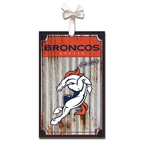 Team Sports America Denver Broncos, Metal Corrugate Ornament, Set of 2