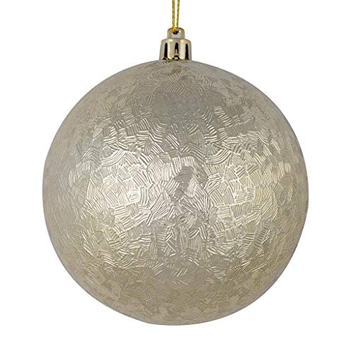 Vickerman 530726-4″ Champagne Brushed Ball Christmas Tree Ornament (6 pack) (N189138D)