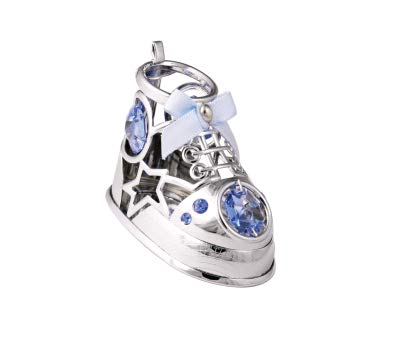 Chrome Plated Baby Shoe Ornament w/Blue Swarovski Element Crystal