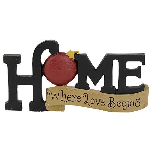 Blossom Bucket Home Where Love Begins 3 x 6 Inch Resin Stone Christmas Tabletop Figurine
