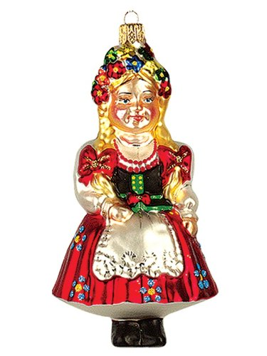 Pinnacle Peak Trading Company Polish Girl Krakowianka Polish Glass Christmas Ornament Krakow Poland Decoration