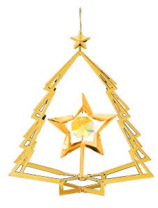 24K Gold Plated Star in Tree Ornament w/Yellow Swarovski Element Crystal