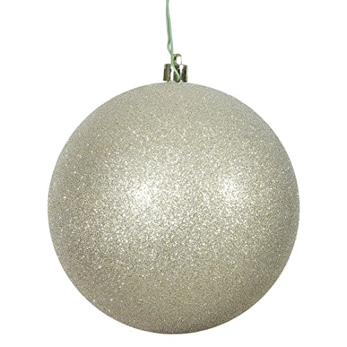 Vickerman N592038DG Glitter Ball Ornament with Shatterproof & UV Resistant, Pre-drilled cap Secured & 6″ of Green Floral Wire, 8″, Champagne