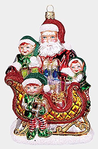 Pinnacle Peak Trading Company Santa with Elves and Present on Sled Polish Mouth Blown Glass Christmas Ornament
