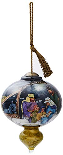 Ne'Qwa Art Hand Painted Blown Glass O Come Let Us Adore Him Ornament, Nativity