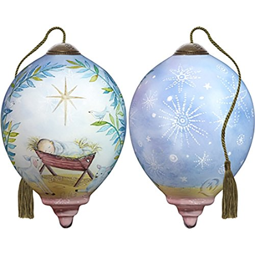 Ne'Qwa Art Hand Painted Blown Glass Asleep On The Hay Ornament, Nativity Let All Creation Sing