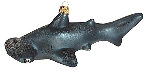 Pinnacle Peak Trading Company Hammerhead Shark Polish Glass Christmas Tree Ornament Sea Life Animal Decoration