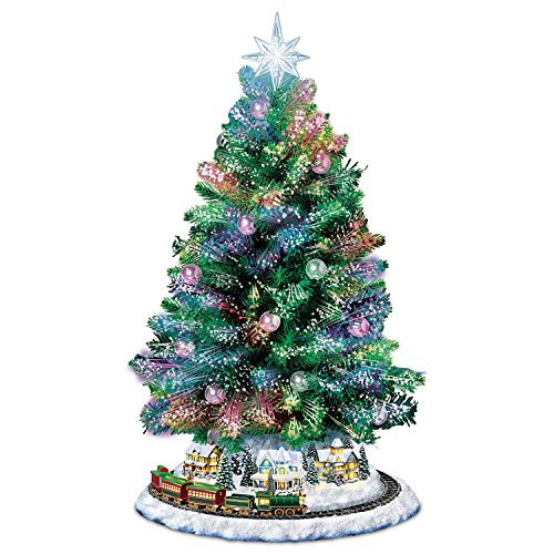 Bradford Exchange Thomas Kinkade Holiday Sparkle Color-Changing Fiber-Optic Tabletop Christmas Tree by The