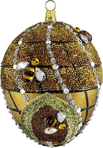 Joy To The World Glitterazzi Beehive Jeweled Egg Polish Glass Christmas Tree Ornament Bee Poland