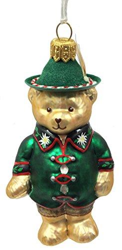 Pinnacle Peak Trading Company German Bear with Hat and Edelweiss Shirt Polish Glass Christmas Tree Ornament