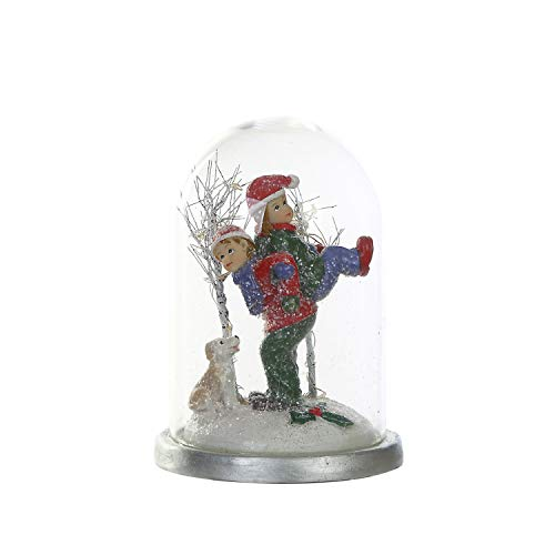 Goose Creek Glass Cloche with LED Christmas Ornament Children Table Décor for Holiday Party Home Decorations