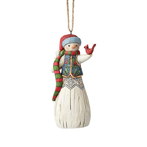 Enesco Jim Shore 6001512 Snowman with Cardinal Hanging Ornament, Multicolor