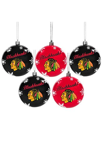 Forever Collectibles Chicago Blackhawks 5 Pack Shatterproof Ball Ornament Set Standard