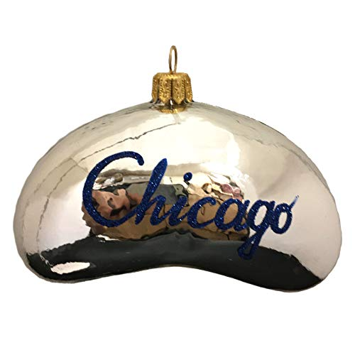 Pinnacle Peak Trading Company Silver Chicago Bean Polish Glass Christmas Tree Ornament Travel Decoration