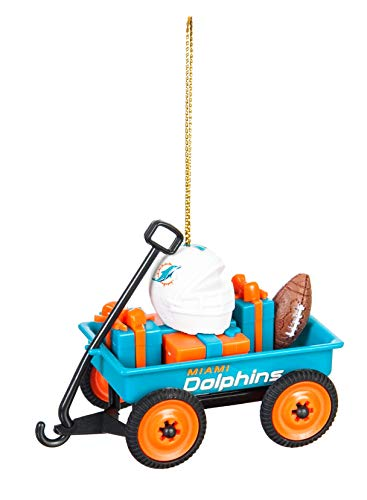 Team Sports America Miami Dolphins Team Wagon Ornament, Set of 4