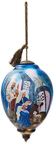 Ne'Qwa Art Hand Painted Blown Glass Oh Night Divine Ornament, Nativity