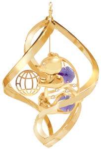 24k Gold Plated Bear w/Ball Spiral Ornament w/Purple Swarovski Element Crystal
